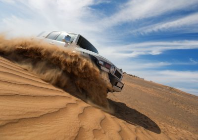White 4WD in desert sand dunes   4x4 Obsession, 4x4 Specialists